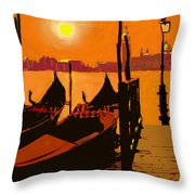 Venice In Orange Throw Pillow