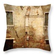 Venice Italy Crumbling Stucco Wall Throw Pillow