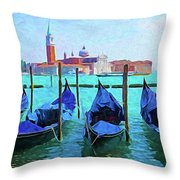 Venice Lagoon Gondolas Throw Pillow