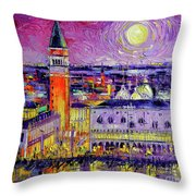 Venice Night View Modern Textural Impressionist Stylized Cityscape Throw Pillow