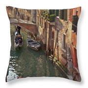 Venice Ride With Gondola Throw Pillow