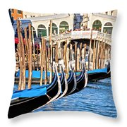 Venice Sunny Rialto Bridge Throw Pillow