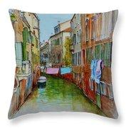 Venice Washing Day Throw Pillow