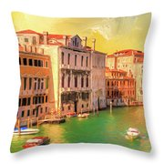 Venice Water Taxis Throw Pillow