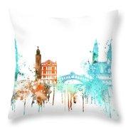 Venice Watercolor Skyline Throw Pillow