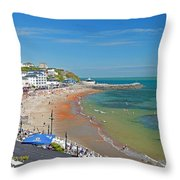 Ventnor Beach And Seafront Throw Pillow