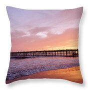 Ventura Pier Sunset Throw Pillow