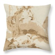 Venus And Cupid Discovering The Body Of Adonis Throw Pillow
