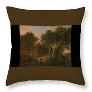 Verboeckhoven  Eugene   Forest Landscape With Animals Throw Pillow