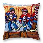 Verdun Hockey Rink Paintings Edmonton Oilers Vs Hometown Habs Quebec Hockey Art Carole Spandau       Throw Pillow