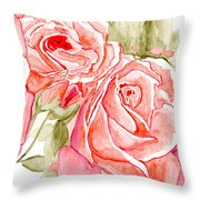 Vermilion Pink Roses Throw Pillow