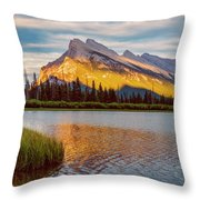 Vermillion Lakes And Mt Rundle II Throw Pillow