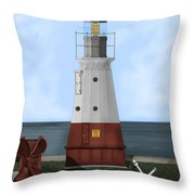 Vermillion River Lighthouse On Lake Erie Throw Pillow