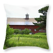 Vermont Barn With Tire Swing Throw Pillow
