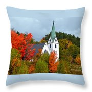 Vermont Church In Autumn Throw Pillow by Catherine Sherman