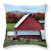 Vermont Cows At The Barn Throw Pillow