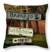 Vermont Crossroads Signs Throw Pillow