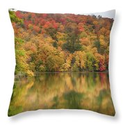 Vermont Fall Foliage Reflected On Pogue Pond Throw Pillow