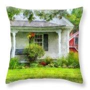 Vermont Farm House Kent Corner Watercolor Throw Pillow by Edward Fielding
