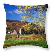 Vermont Farm In Autumn Throw Pillow
