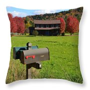 Vermont Farm In Autumn Throw Pillow