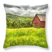Vermont Farm Landscape Pencil Throw Pillow