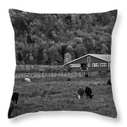 Vermont Farm With Cows Black And White Throw Pillow