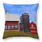 Vermont Farm Woodstock Vt Red Barn Throw Pillow