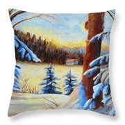 Vermont Log Cabin Maple Syrup Time Throw Pillow