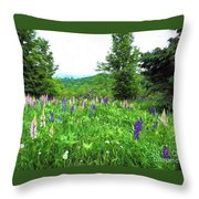 Vermont Lupine Throw Pillow