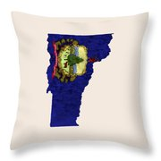 Vermont Map Art With Flag Design Throw Pillow