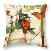 Vermont Summer Watering Can Throw Pillow