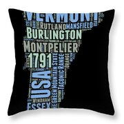Vermont Word Cloud 1 Throw Pillow