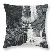 Vernal Falls Black And White Throw Pillow