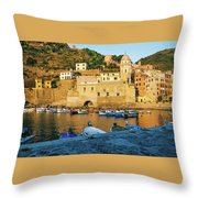Vernazza, Italy, At Sunset Throw Pillow