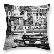 Vernazza Boats And Church Cinque Terre Italy Bw Throw Pillow