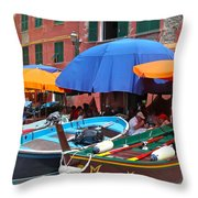 Vernazza Boats Throw Pillow