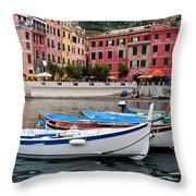 Vernazza Fishing Boats Throw Pillow