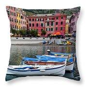 Vernazza Harbor Throw Pillow