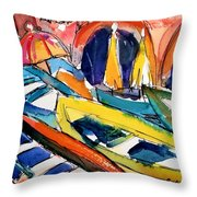 Up Close Skiffs Of Manarola  Throw Pillow