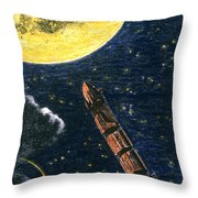 Verne: From Earth To Moon Throw Pillow