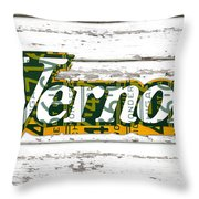 Vernors Beverage Company Recycled Michigan License Plate Art On Old White Barn Wood Throw Pillow