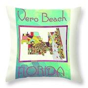 Vero Beach Map4 Throw Pillow