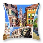 Verona Colorful Tourist Landmarks Postcard  Throw Pillow