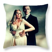 Veronica Carlson And Peter Cushing Throw Pillow
