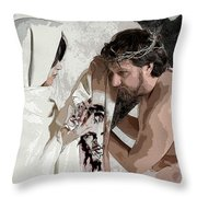 Veronica Wipes The Face Of Jesus Throw Pillow