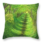 Vertical Tree Tunnel Throw Pillow