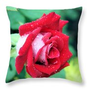 Very Dewy Rose Throw Pillow