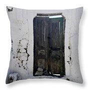 Very Old Door Throw Pillow