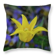 Very Pretty Yellow Tulip With Spikey Petals Throw Pillow